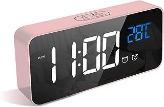 LATEC Digital Väckarklocka, LED-Display Smart Väckarklocka Med Temperatur, USB-Laddningsport, 12/24 Timmar, 4 Justerbar Lj...