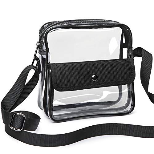 iSPECLE Clear Purse, Clear Stadium Bag Approved for NFL, PGA, NCAA, Casino, Adjustable 4.92ft Shoulder Strap for Women Men, Black