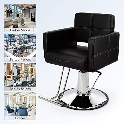 HIRAM Poltrona da Barbiere Regolabile Girevole Sedia da Barbiere per Parrucchiere in Pelle PU Capacità di 150 kg Sedia da Salone Reclinabile Idraulica