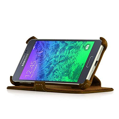 Manna LEICKE Pregiata Custodia Protettiva UltraSlim per Samsung Galaxy Alpha 4,7 in Vera Pelle Nabuk con Funzione Stand
