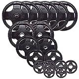 Body-Solid Juego de placas de peso olímpico de agarre de goma (206 kg)