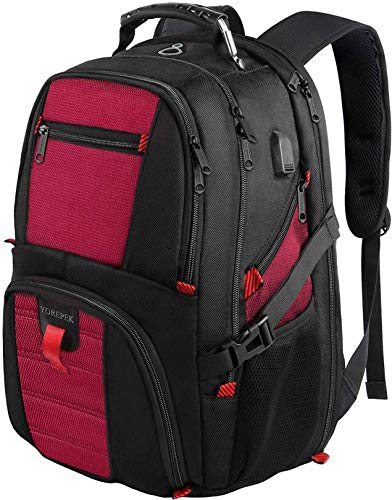 Extra Large Backpack,Computer Backpack for Laptops with USB Charging Port,Heavy Duty Business Travel Backpack for Men Women,TSA Laptop Backpack College School Bookbag Fit 17Inch Laptop 45L,Red