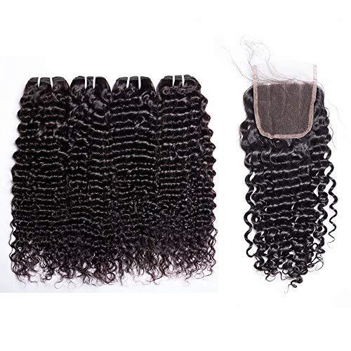 Maxine Hair 9A Grade Human Hair Extensions Brazilian Curly Wave 4 Bundles 100% Unprocessed Virgin Human hair with 4\