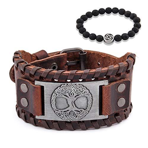 GUNGNEER Tree of Life Yggdrasil Sigil Leather Bracelet Celtic Knot Amulet Jewelry Protection Health Talisman Men Women