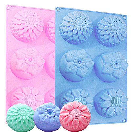 IHUIXINHE 6-Cavity Silicone Flower Shape Cake Molds, 2PCS Non-Stick Fondant Decorating Ice Cube, Jelly, Biscuits, Chocolate, Candy, Cupcake Baking Mold