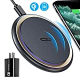 TORRAS Fast Wireless Charger, [Upgraded] Wireless Charger with 18W QC 3.0 Fast Charger,USB-C Qi Wireless Phone Charging Pad for iPhone SE/11/11 Pro/X/XS Max/XR/8 AirPods Pro,Samsung S20/S10/S10e/S9