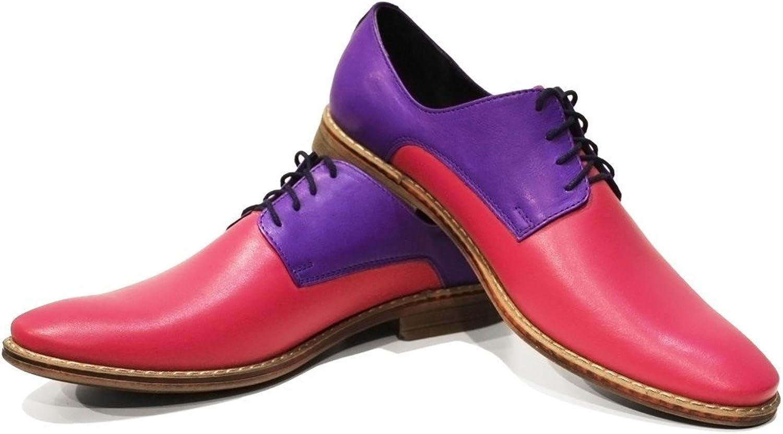 Modello Funky Handsydd Italiensk Läder Mens Färg lila Oxfords Oxfords Oxfords Dress skor Cowhide Smooth Leather Lace -Up  billigt och mode