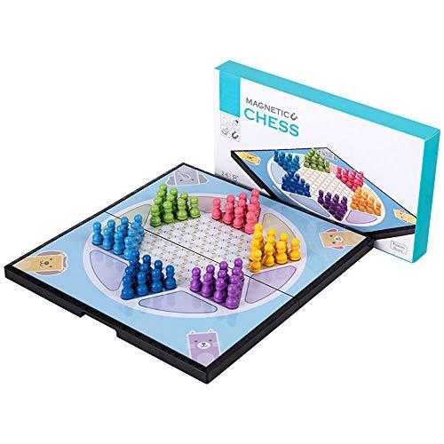 Damas magnéticas Plegables, Todas Las Edades Estrategia clásica Juegos de Mesa Chinos Piezas de ajedrez de Madera Patrón de Interfaz Simple y refrescante, para Viajes Familiares