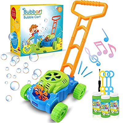 Bubbart Bubble Lawn Mower Automatic Bubble Machine for Kids with Music Outdoor Toy for Toddlers [ 2020 Upgraded ] Lot of Fun for Your Kids Included 3 Bottle of Bubble Solution & 3 Blowers Sticks
