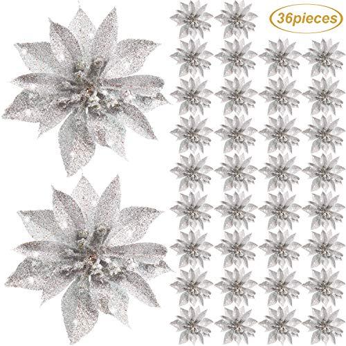 Flores Artificiales de Poinsettia de Navidad Decoración Adorno de Árbol de Navidad de Flor de Pascua de Purpurina Accesorios Florales para Decoración de Puerta Principal Casa de Navidad (Plata, 36)