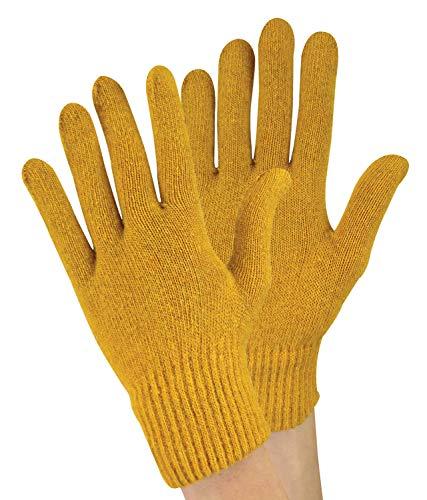 sock snob 1 Paar Damen Winter Warm Outdoor Dünn Gestrickt Thermo Wollhandschuhe (One Size, Mustard)