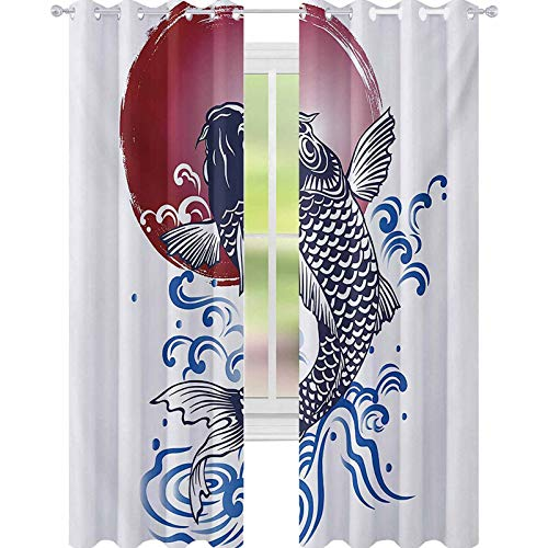 YUAZHOQI Japanese Window Curtain Ornate Japanese Brocaded Carp Fin with Red Circular Form Sea Colored Graphic 52' x 95' Blackout Draperies for Bedroom Blue