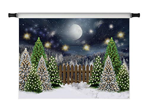 Kate 10x6.5ft Christmas Background Night Scene Xmas Backdrops for Photoshoot Pine Trees White Snow Photo Shooting Props