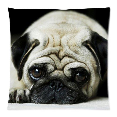 Adorabile cagnolino con cerniera, motivo carlino-Federa per cuscino, 46 x 46 cm, 2 lati