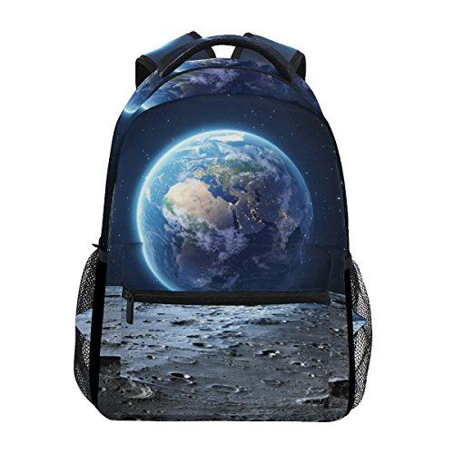 Mochila escolar casual Blue Earth Seen From Moon Surface leve Travel Daypack Bolsa de ombro para mulheres e meninas adolescentes