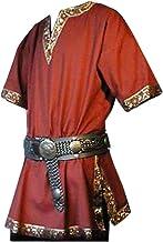 Manga Corta Medieval De Los Hombres Tunica Medieval Camisa con Cuello En V Sin Correa Traje