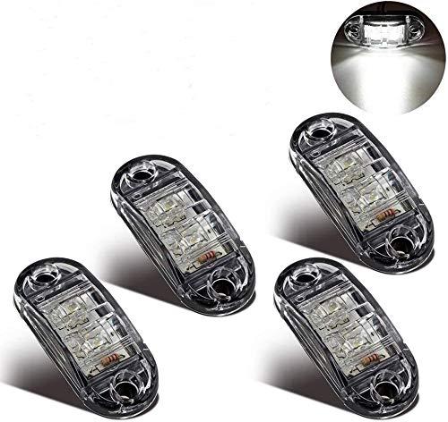 LED Seitenmarkierungsleuchten 4pcs Weiß 12V/24V für Auto LKW Anhänger SUV Van Wasserdicht Markierungsleuchten E-geprueft -WildAuto