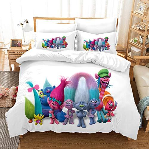 GDGM Trolls World Tour Juego de ropa de cama para niños, funda de edredón y funda de almohada, de algodón/Renforcé, 3D, ropa de cama para niñas (G, 155 x 220 cm)