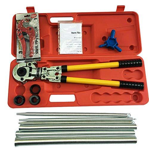 Juego de alicates de prensado para tubos de 16 – 32 mm + muelle de flexión, calibrador + tijeras para tubos de cobre