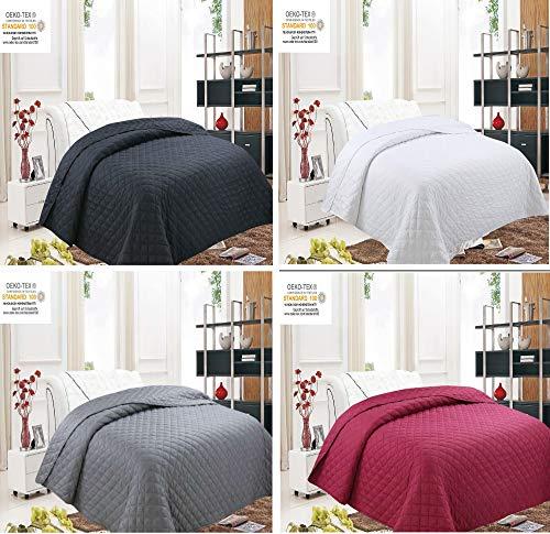 Buymax Tagesdecke Deluxe 220x240 cm in einem edlen Design, Bettüberwurf geeignet für Doppelbetten Schlafzimmerdecke, Kachelmuster Farbe Uni Schwarz