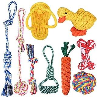 犬ロープのおもちゃ Ninonly 犬用 噛むおもちゃ コットン ストレス解消 丈夫 耐久性 清潔 歯磨き 小/中型犬に適用【9個セット】