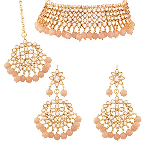I Jewels 18k Gold Plated Indian Wedding Bollywood Designer Stylish Pearl Kundan Choker Necklace Set Jewelry for Women (K7075Pe)