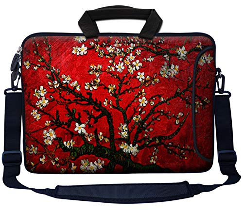 Meffort Inc 17 17.3 inch Neoprene Laptop Bag Sleeve with Extra Side Pocket, Soft Carrying Handle & Removable Shoulder Strap for 16' to 17.3' Size Notebook Computer - Vincent van Gogh Cherry Blossoming