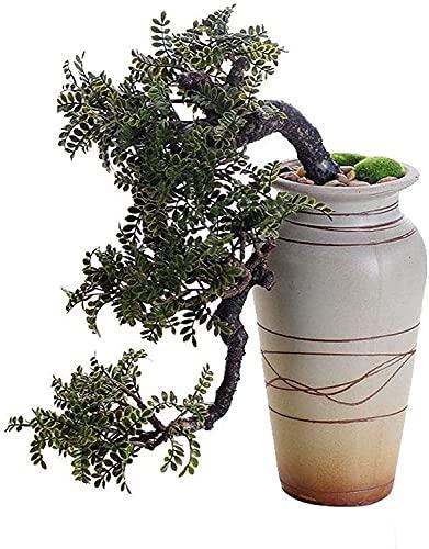 JIAJBG Plantas Artificiales Realista Faux Cedar Bonsai Árbol, Planta de Interior, Pote de Cerámica Blanca, Guijarros, Fondo Acolchado, Sobre 1 Pies de Altura, Bonsai Artificial Deco