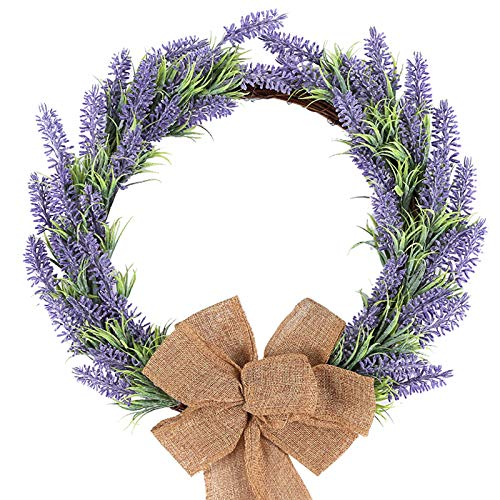 H&W Lavender Wreath for Front Door Décor, 15'' Springtime Silk Flower Wreath, Garland for Window Wall Party Wedding Valentines Day Hanging Decorations