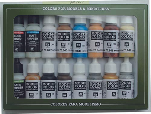 Vallejo Model Color Folkestone acrílico especial Paint Set - Surtido de Colores (Pack de 16)