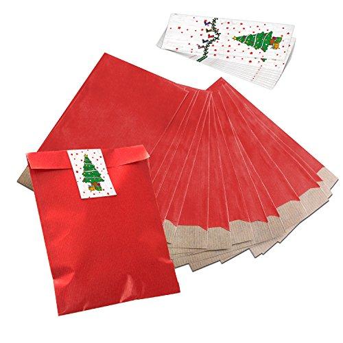 Lot de 25 mini sachets en papier rouge (17,5 x 21,5 cm) - Avec 25 autocollants verts, blancs et rouges de 5 x 15 cm - Pour les cadeaux - Motif Noël