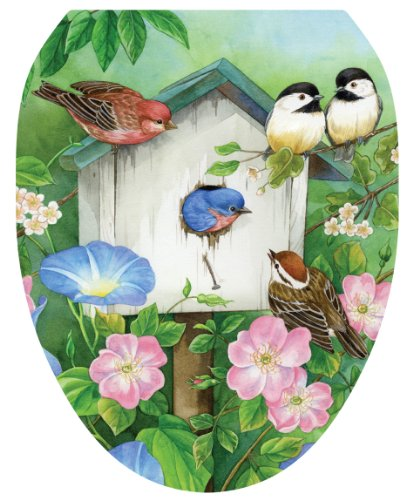 Toilet Tattoos, Toilet Seat Cover Decal,Blooming Birdhouse, Size Elongated