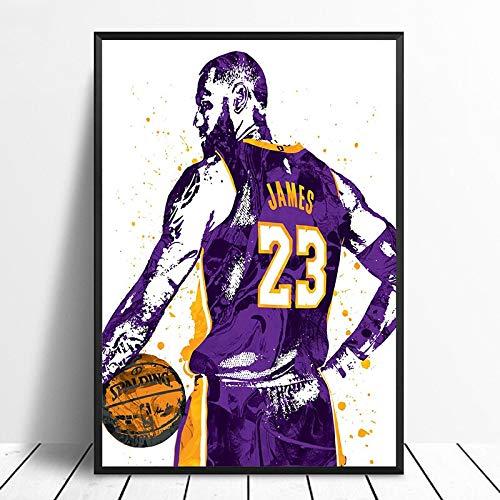 unknow Breeze Druck Kunst kreative Leinwand Poster Wandbild, Lebron James Los Lila Basketball Stern Sport Bild, 50x70cm kein Rahmen