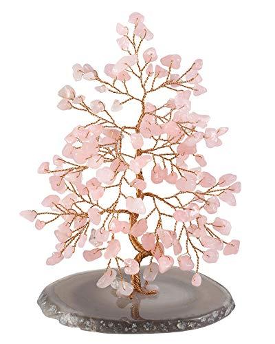 CrystalTears Edelstein Baum des Lebens Dekoration Wire Wrap Trommelsteine mit Achatscheibe Basis 14-16cm hoch Feng Shui Lebensbaum Geldbaum Glückbaum Tisch Büro Deko (Pink Rosenquarz)