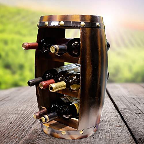 Soporte para vino de madera maciza, estilo europeo, para cocina, sala de estar y bodega, 8 botellas de vino verticales creativas