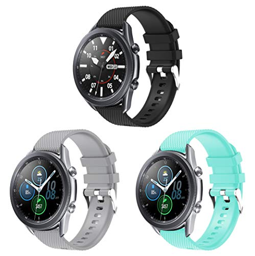 Supore 20mm Armband Sport Schnellverschluss-Silikonarmband, Kompatibel mit Vivoactive 3/3 Music/Galaxy Watch 42mm/ Gear Sport/Gear S2 Classic/Huawei Watch 2/ Galaxy Watch 3 41mm (3er-Pack-02)