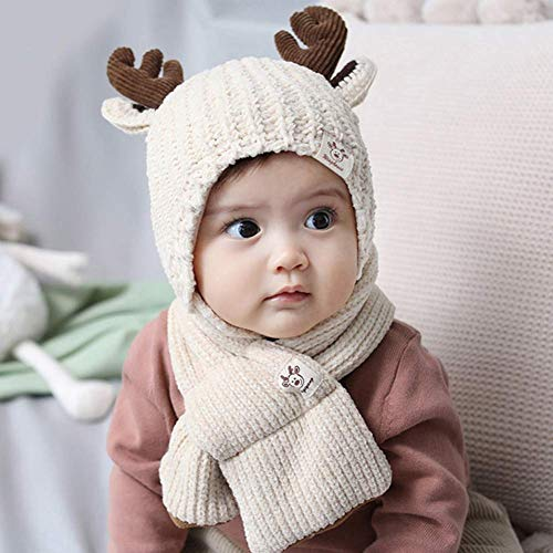 DOUP Childrens/Kids Warm Knitted Beanie Hat and Scarf Set, 2PCS Toddler Baby Knit Hat Scarf Winter Warm Beanie Cap with Scarf Neck Warmer, 46-50cm