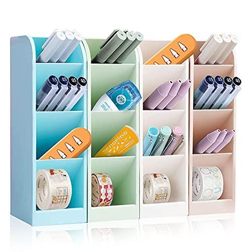 4Pcs lapiceros para escritorio,Organizador de escritorio,compartimentos Soporte para bolígrafo,Soporte para bolígrafo de Escritorio,Portalápices Multifuncional,Organizador de Pluma (A) (C)