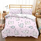 PATATINO MIO 3D Cartoon Cats Gray/White Fishes Paws Bedspread Printed Lilac Duvet Cover Bedding Set 2PCS(1 Duvet Cover 1 Pillow Sham) for Kids Boys Girls No Comforter Twin