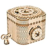 ROBOTIME 3D Wooden Treasure Box Puzzle Unique Model Kits to Build Mechanical Engineering Kits Great Birthday for Adults and Children Age 14+