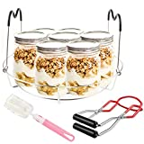 Canning Rack and Canning Jar Lifter Tongs Kit, Stainless Steel Canning Jar Canner Rack with Heat Resistant Handle, Steamer Rack Canning Tongs Lifter for Regular and Wide Mouth Mason Jars