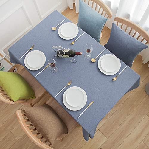 DJUX Mantel Simple para Sala de reuniones de Oficina Mantel de algodón y Lino de Color sólido Mantel Rectangular Impermeable para Mesa de café 110x170cm