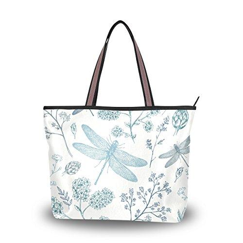 Shoulder Bag Large Beach Travel Tote Bag Blue Dragonfly Printed Handbags...
