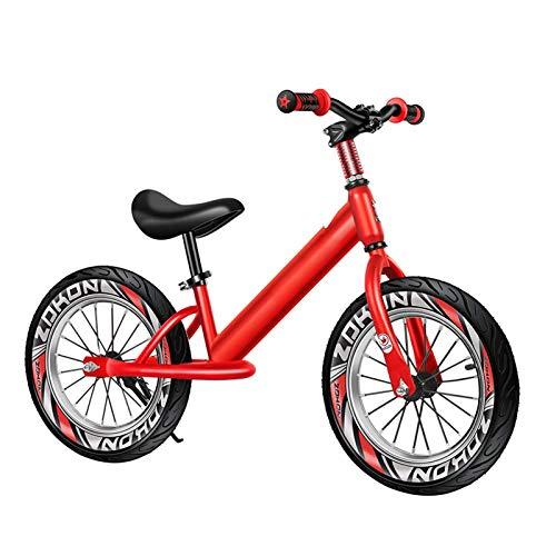 ZXXL Bicicletas sin Pedales Bicicleta de Equilibrio Roja con Ruedas de 16 Pulgadas, Bicicleta de Entrenamiento de Aluminio Sin Pedal para Niños/Niñas/Niños, Asiento y Manija Ajustables, Máximo 60 Kg