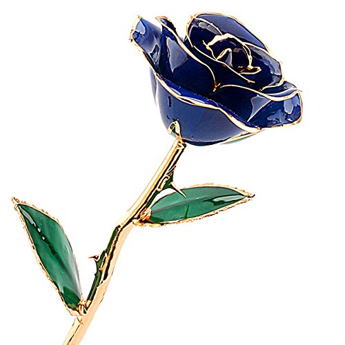 ZJchao 24K Gold Rose, Echte Rose vergoldete Rose Blume Ewige Rose, Geburtstagsgeschenk Valentinstagsgeschenke Jahrestag Geschenke für Frau, 12 Zoll mit exquisiter Verpackung und Zertifikat (082-Blau)