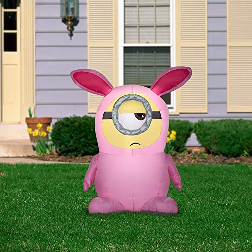 Gemmy Airblown Inflatable Stuart in Pink Bunny Suit, 3.5 ft Tall, Pink