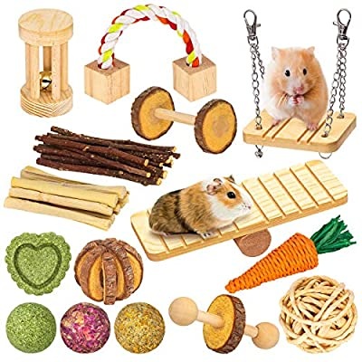 OVMKOV Hamster Guinea Pig Toys, Chew Molar and Exercise Toys, 15 Pcs Natural Wooden Play Small Pet Exercise Accessories Teeth Care Molar Toys for Guinea Pig Hamster Rats Gerbils Hamster Chinchilla