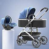 YXCKG 3 En 1 Cochecito De Bebé Plegable Carro De Lujo Sillas De Paseo Antichoque Springs High Vista del Carro De Bebé del Cochecito De Bebé con Cesta, Ruedas amortiguadoras (Color : Blue)
