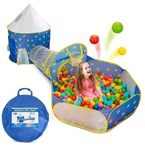 Gift for Toddlers Boy's & Girl's 3 in 1 Ball Pit Play Tent with Crawl Tunnel for Kids - Indoor/Outdoor Pop-Up Playhouse Set for Babies, Toddlers, – Best Birthday Gift for 1 2 3 4 5 Year Old.