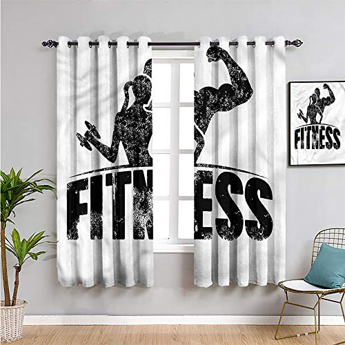 Fitness Premium Blackout Curtains, Curtains 63 inch Length Grunge Strong Man Woman Protective Furniture W63 x L63 Inch